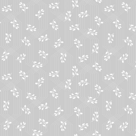 Colette - Grey Lattice Leaves by Whistler Fabrics