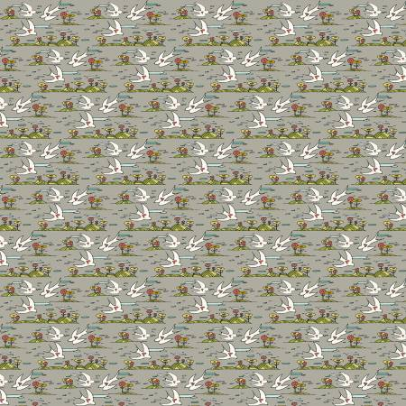 Bubbies Buttons and Blooms - Grey Birds