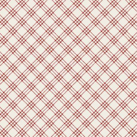 White and Red Textured Plaid