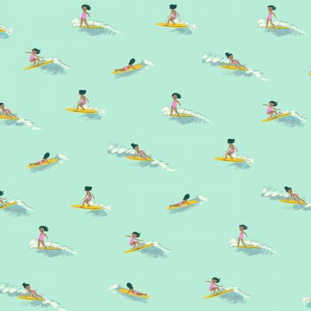 Heather Ross Malibu Tiny Surfers Sea Foam