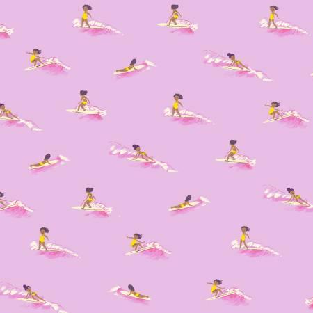 Heather Ross Malibu Tiny Surfers Pink