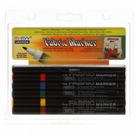 Fabric Marker Fine Point Primary Set 6pcs