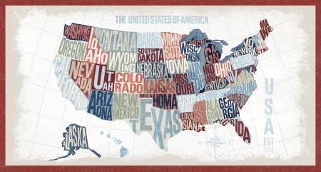 Across The USA - Multi USA Map 24 Panel