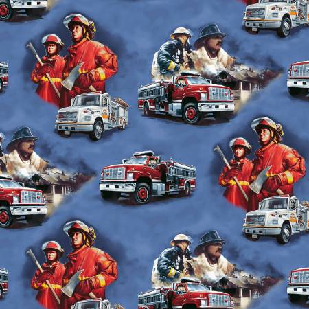 Hold the Line Firemen and Trucks on Blue - fabric by the yard