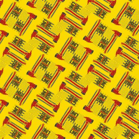 Hold the Line on Yellow - fabric by the yard