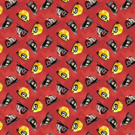 Hold the Line Helmets on Red - fabric by the yard