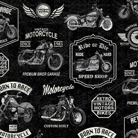 Born To Ride from Windham Fabrics #52240-3- Black Vintage Motorcycles