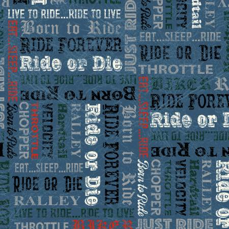 Born to Ride - Blue Born to Ride Words