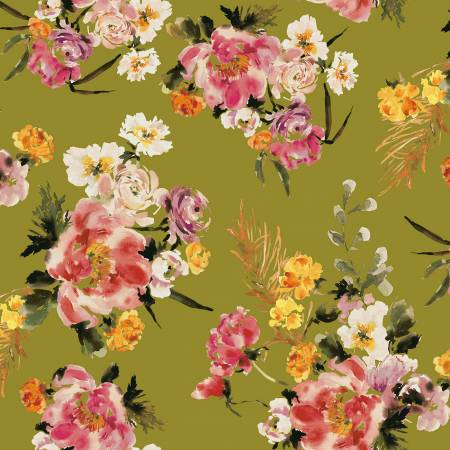 Wildflower Olive Coral Charm 52252-4 by Kelly Ventura for Windham Fabrics