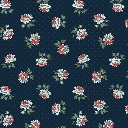 Camilla - Peonies on Dot in Navy
