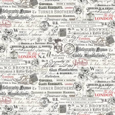 London 52344 1 Ivory Text & Stamps