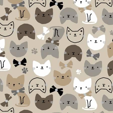 Cat Heads Flannel 52378-3 Beige