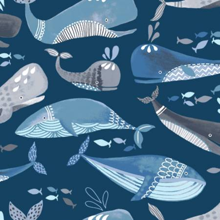 Blue Whales Flannel 52380-5