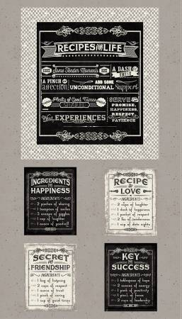 Grey Life's Recipes Panel 24in x 42in