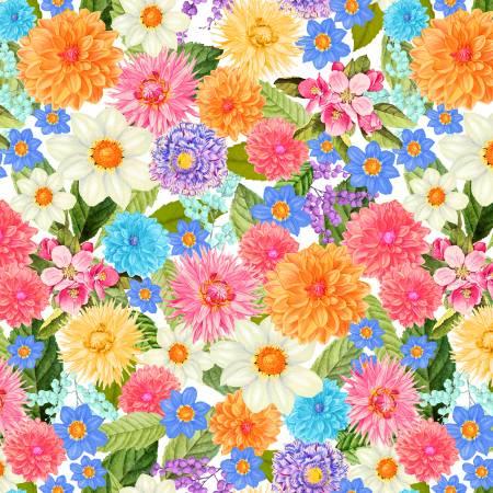Flower Bed 52473D-X Digital White Multi Floral 108in Wide Back