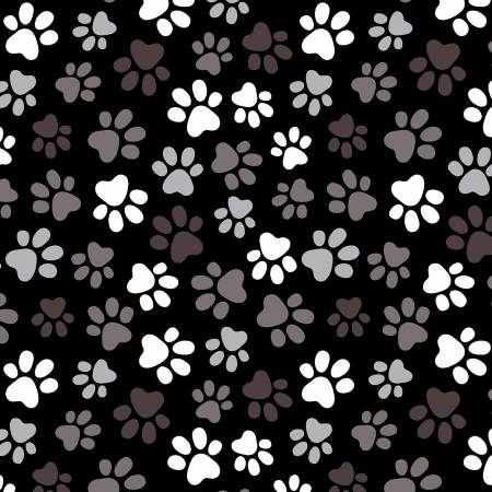 Black Multi Paw Prints 108in Wide Back
