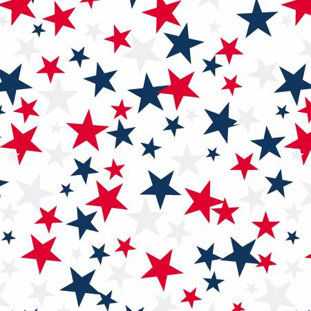 White Patriotic Stars 108in Wide Back