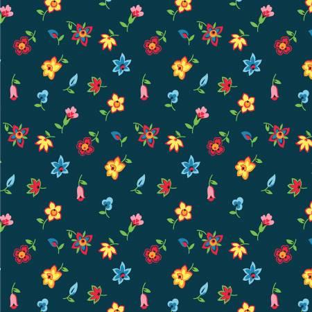 52481 2 Navy Floral Toss Five + Ten by Desnyse Schmidt for Windham Fabrics. 100% cotton 43 wide