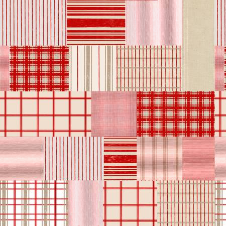 Red/Tan Patchwork of Plaid & Stripes