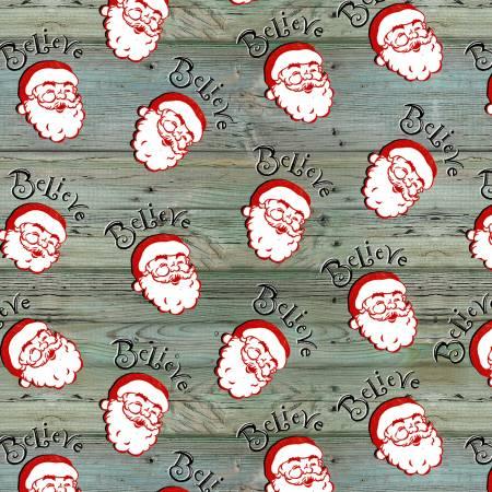 Christmas Mem Teal Santa Heads Tossed