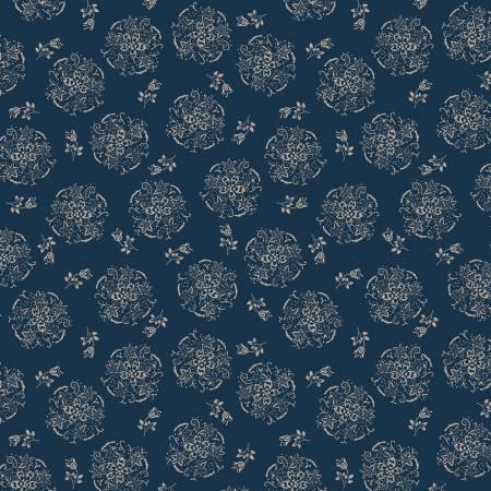 Willow 52570-1 Indigo Circles of Flowers