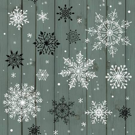 Christmas Mem Teal Snowflakes on Wood Grain
