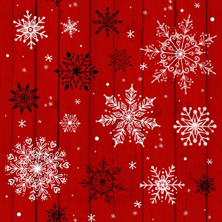 Christmas Mem Red Snowflakes on Wood Grain