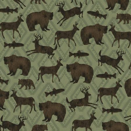 Black Bear Lodge 52603-2 Evergreen Animal Silhouette