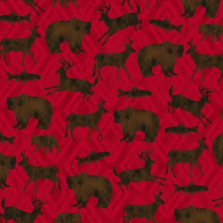Black Bear Lodge 52603-3 Red Animal Silhouette