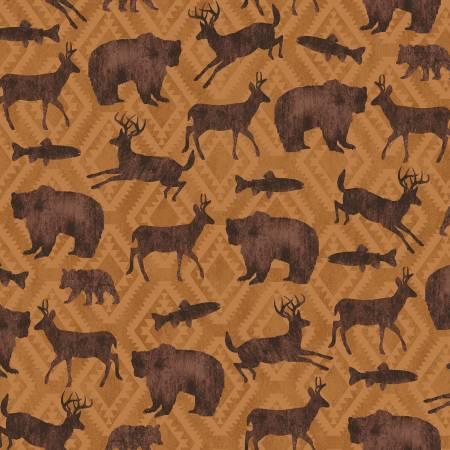Black Bear Lodge 52603-4 Ochre Animal Silhouette