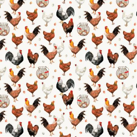 Farmers Market by Whistler Studios Chickens White
