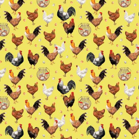 Farmers Market by Whistler Studios Chickens Yellow