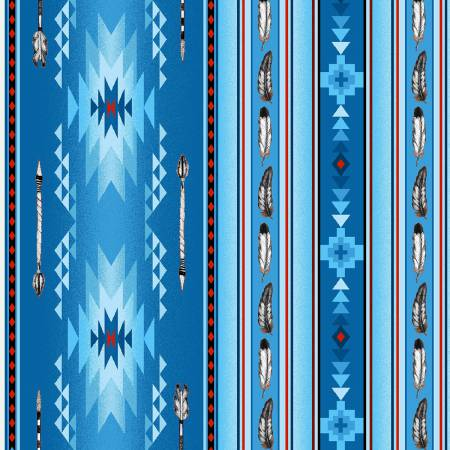 Blue Arrows & Feathers Fabric 100% Cotton