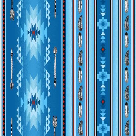 Blue Arrows & Feathers 100% Cotton 42-44 Wide