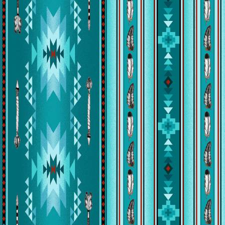 Turquoise Arrows & Feathers 100% Cotton 42-44 Wide