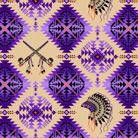 Purple Native Spirit 100% Cotton 42-44 Wide