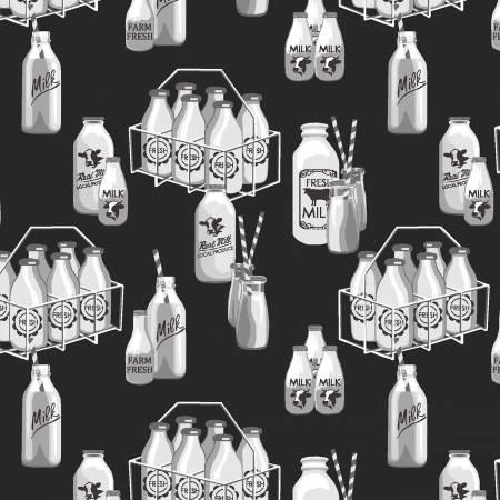 Buttermilk Farmstead Milk Bottles in Black