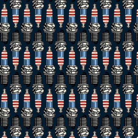 American Muscle Patriotic Spark Plugs Fabric by the yard