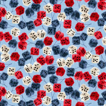 American Muscle Patriotic Furry Dice Fabric by the yard