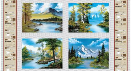Multi 4 Blocks of Scenics Digital Bob Ross Cotton panel Bin 25 #382