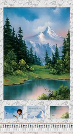 Multi Scenic Panel 24in Digital Bob Ross cotton