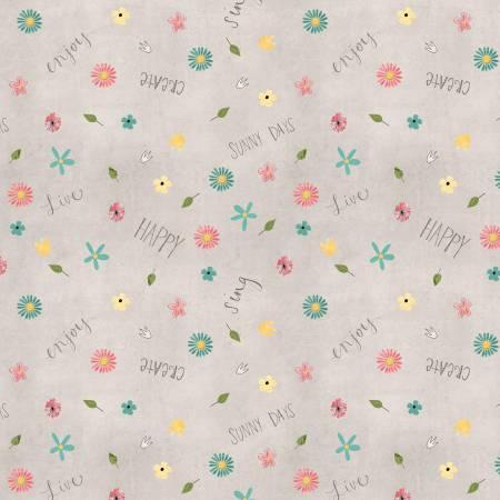 Grey Small Floral - 2-1/8 yards