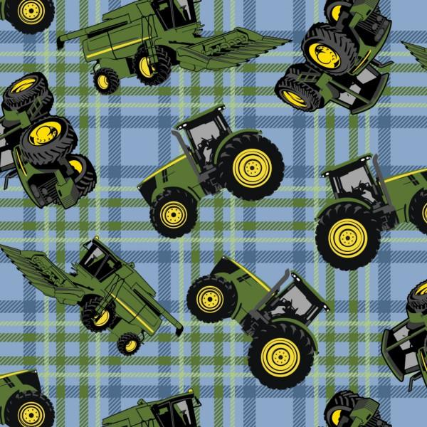 John Deere Tractor on Plaid