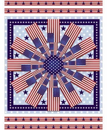 Patriotic American Style Medallion 36in Panel