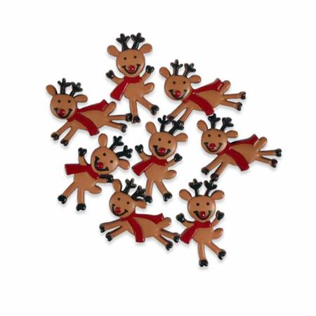 Button Pack Reindeer Fun 7pc