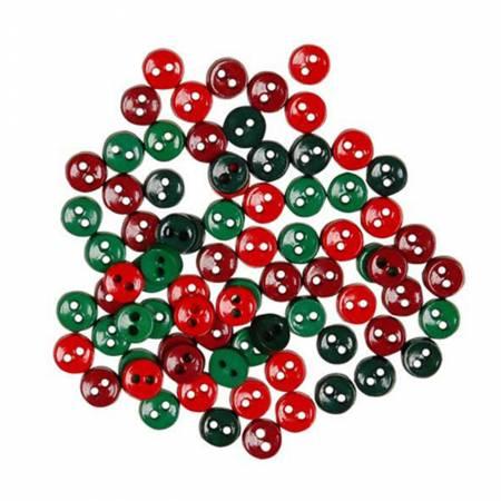Button Pack Mini Christmas 80pc