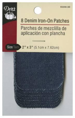 Dk Blue Iron on Patch Denim 2in x 3in 10ct