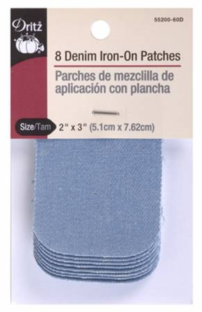 Iron on Patch Denim Faded Blue 2in x 3in 8ct
