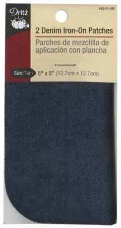 Iron on Patch Dark Blue Denim 5in x 5in 2ct