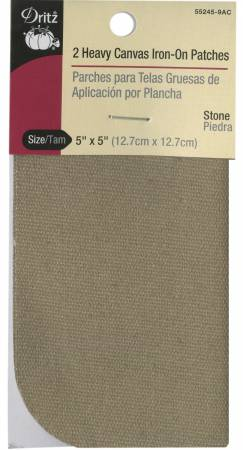 Heavy Canvas Iron-On Patches Stone 5in x 5in 2ct